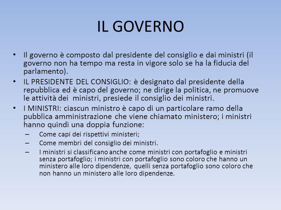 IL GOVERNO Il governo è composto dal presidente del consiglio e dai ministri (il governo non ha tempo ma resta in vigore solo se ha la fiducia del par