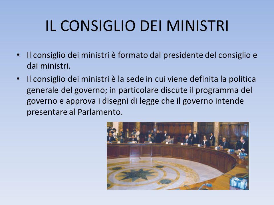 IL CONSIGLIO DEI MINISTRI Il consiglio dei ministri è formato dal presidente del consiglio e dai ministri. Il consiglio dei ministri è la sede in cui
