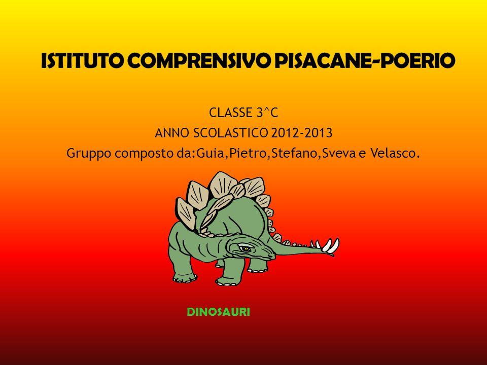 CLASSE 3^C ANNO SCOLASTICO 2012-2013 Gruppo composto da:Guia,Pietro,Stefano,Sveva e Velasco. DINOSAURI