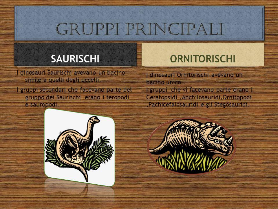 I dinosauri Saurischi avevano un bacino simile a quelli degli uccelli. I gruppi secondari che facevano parte del gruppo dei Saurischi erano i teropodi