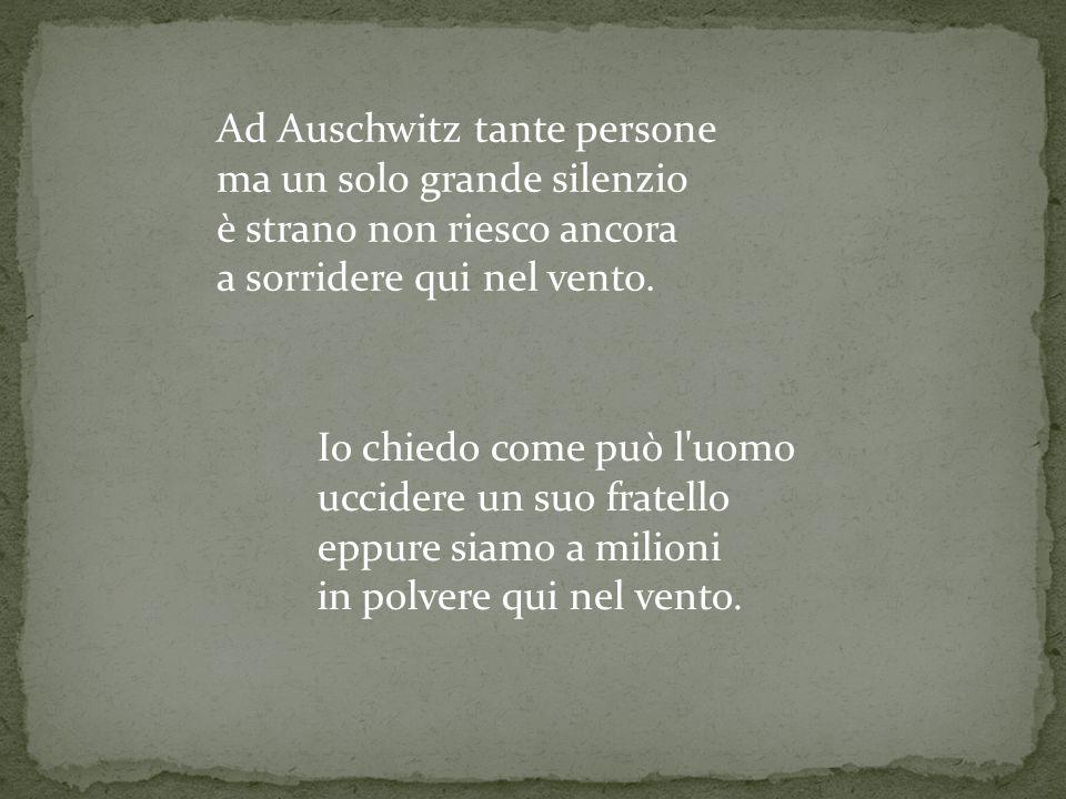 Ad Auschwitz tante persone ma un solo grande silenzio è strano non riesco ancora a sorridere qui nel vento.