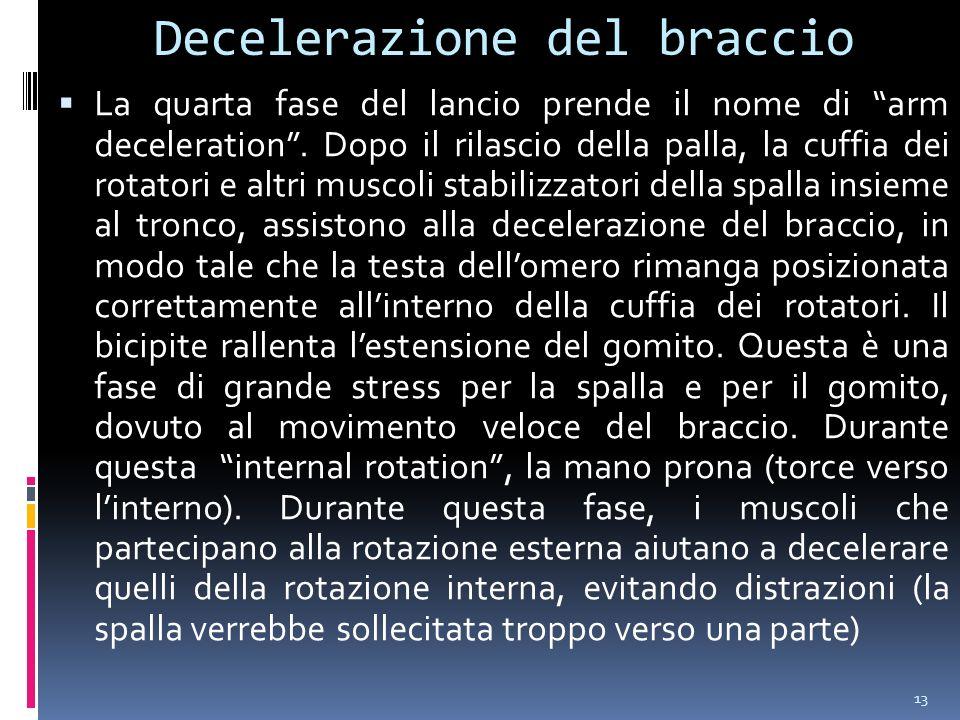 13 Decelerazione del braccio La quarta fase del lancio prende il nome di arm deceleration.