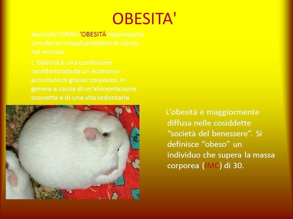 OBESITA' Secondo lOMS lOBESITÁ rappresenta uno dei principali problemi di salute nel mondo. L obesità è una condizione caratterizzata da un eccessivo