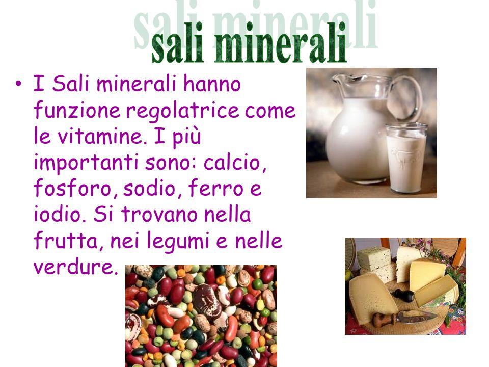 I Sali minerali hanno funzione regolatrice come le vitamine. I più importanti sono: calcio, fosforo, sodio, ferro e iodio. Si trovano nella frutta, ne