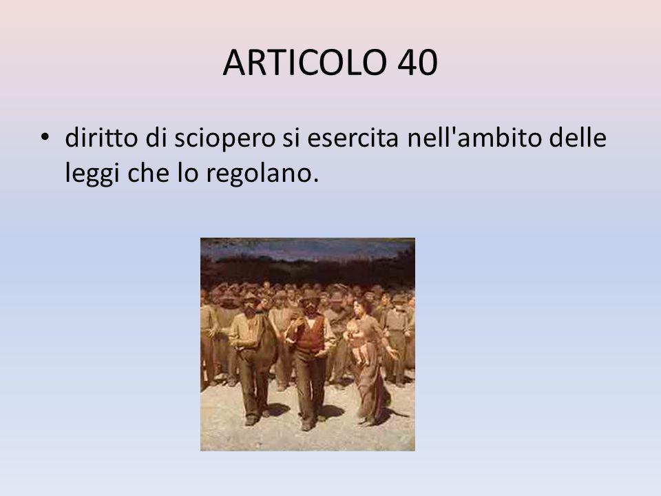 ARTICOLO 40 diritto di sciopero si esercita nell'ambito delle leggi che lo regolano.
