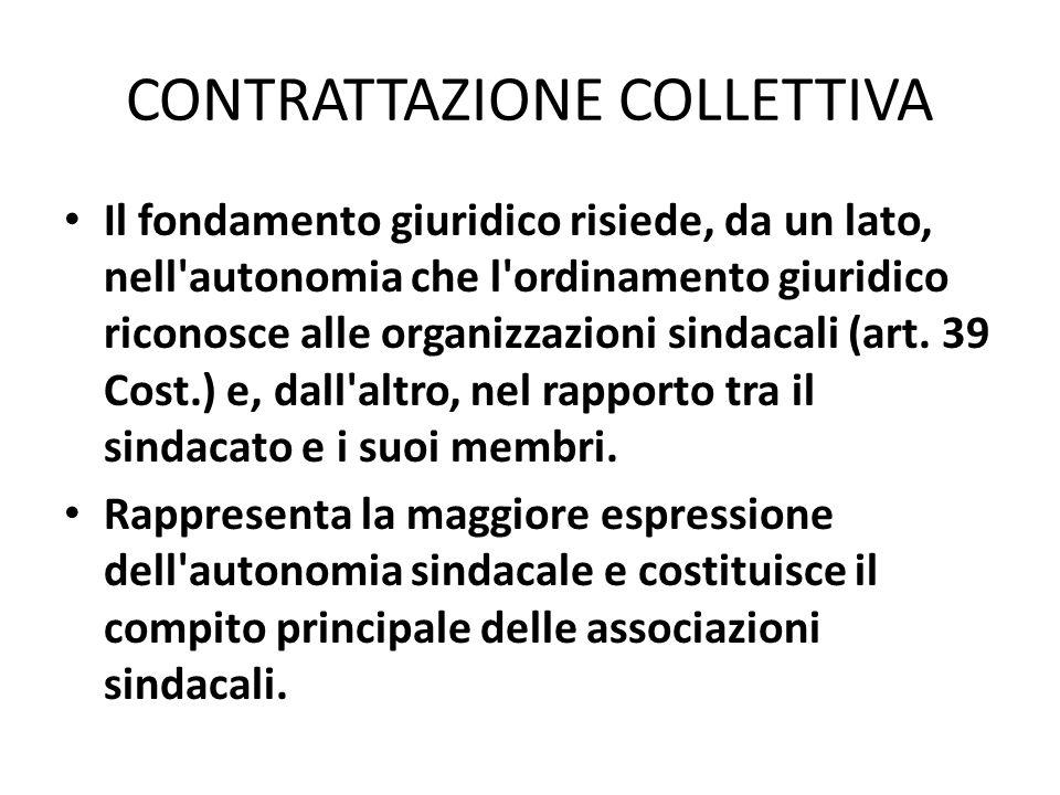 CONTRATTAZIONE COLLETTIVA Il fondamento giuridico risiede, da un lato, nell'autonomia che l'ordinamento giuridico riconosce alle organizzazioni sindac