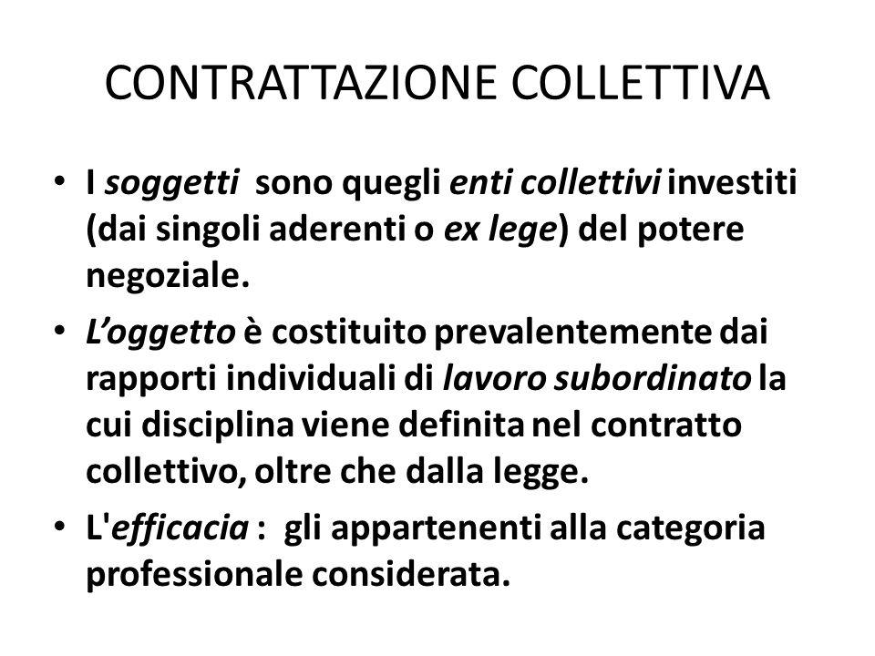 CONTRATTAZIONE COLLETTIVA I soggetti sono quegli enti collettivi investiti (dai singoli aderenti o ex lege) del potere negoziale. Loggetto è costituit