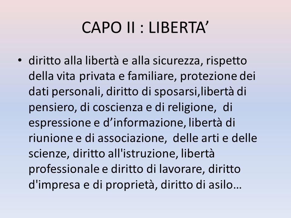 CAPO II : LIBERTA diritto alla libertà e alla sicurezza, rispetto della vita privata e familiare, protezione dei dati personali, diritto di sposarsi,l