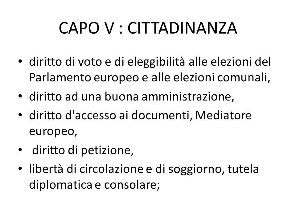 CAPO V : CITTADINANZA diritto di voto e di eleggibilità alle elezioni del Parlamento europeo e alle elezioni comunali, diritto ad una buona amministra