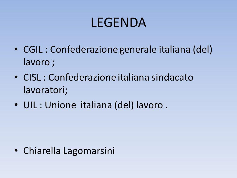 LEGENDA CGIL : Confederazione generale italiana (del) lavoro ; CISL : Confederazione italiana sindacato lavoratori; UIL : Unione italiana (del) lavoro