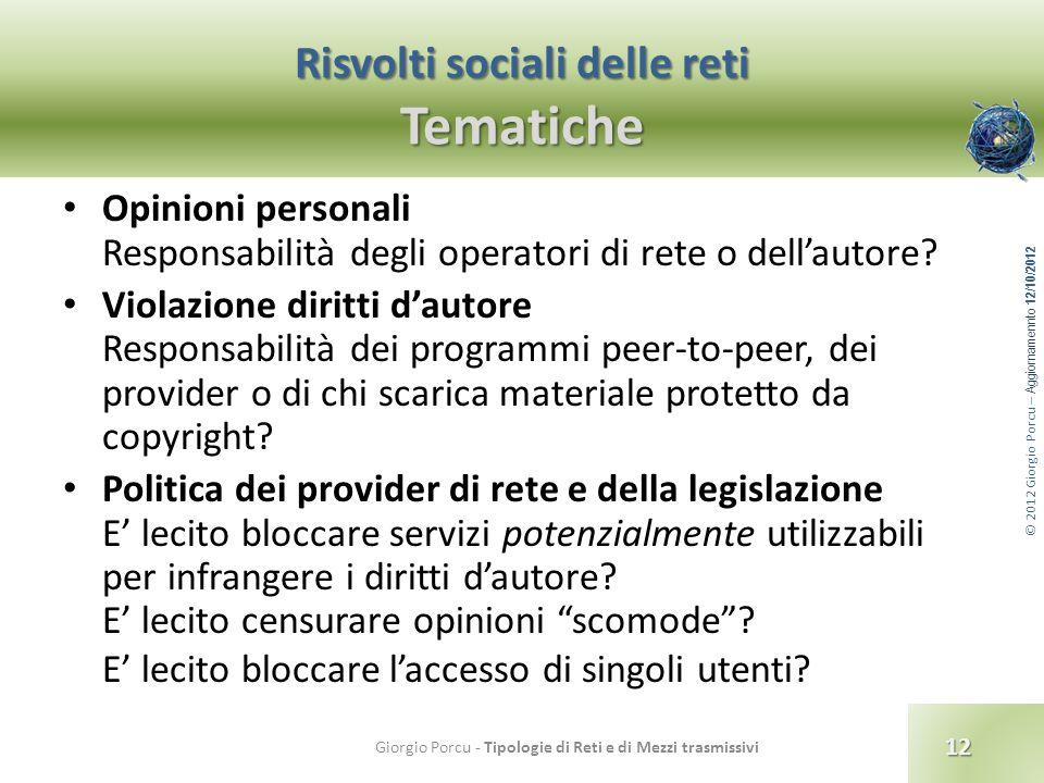 © 2012 Giorgio Porcu – Aggiornamennto 12/10/2012 Risvolti sociali delle reti Tematiche Opinioni personali Responsabilità degli operatori di rete o del