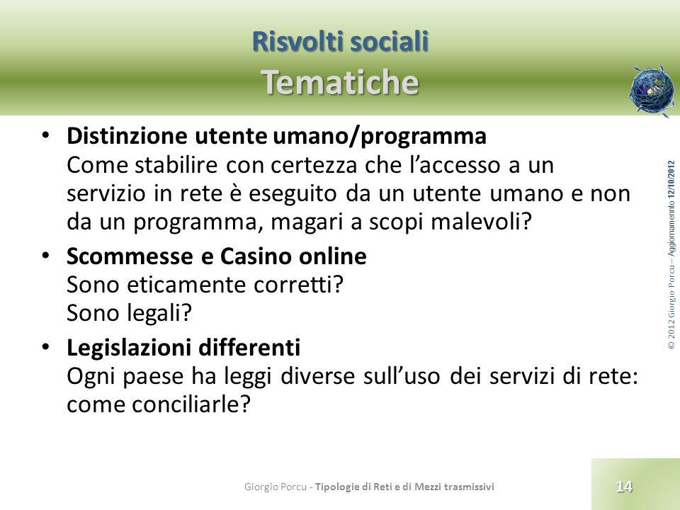 © 2012 Giorgio Porcu – Aggiornamennto 12/10/2012 Risvolti sociali Tematiche Distinzione utente umano/programma Come stabilire con certezza che laccess