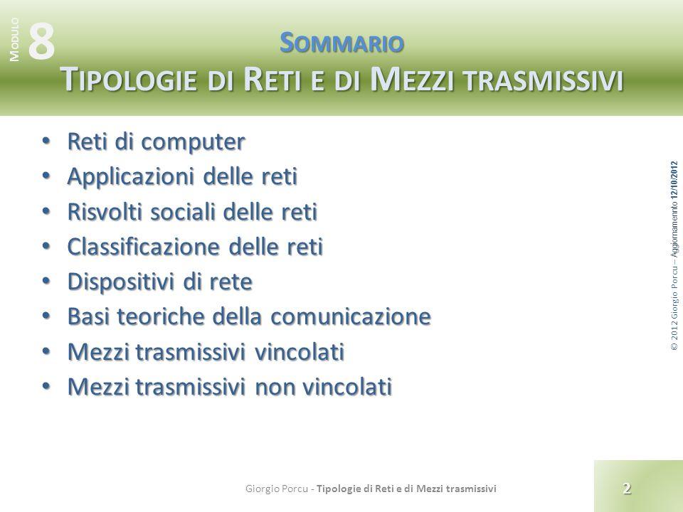 © 2012 Giorgio Porcu – Aggiornamennto 12/10/2012 Classificazione delle reti Per dimensione : PAN PAN Personal Area Network Rete personale di piccole dimensioni (pochi metri).