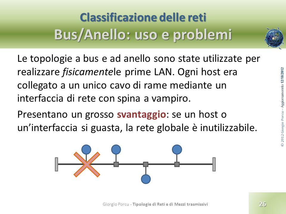 © 2012 Giorgio Porcu – Aggiornamennto 12/10/2012 Classificazione delle reti Bus/Anello: uso e problemi Le topologie a bus e ad anello sono state utili