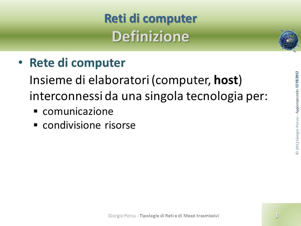© 2012 Giorgio Porcu – Aggiornamennto 12/10/2012 Reti di computer Definizione Rete di computer Insieme di elaboratori (computer, host) interconnessi d