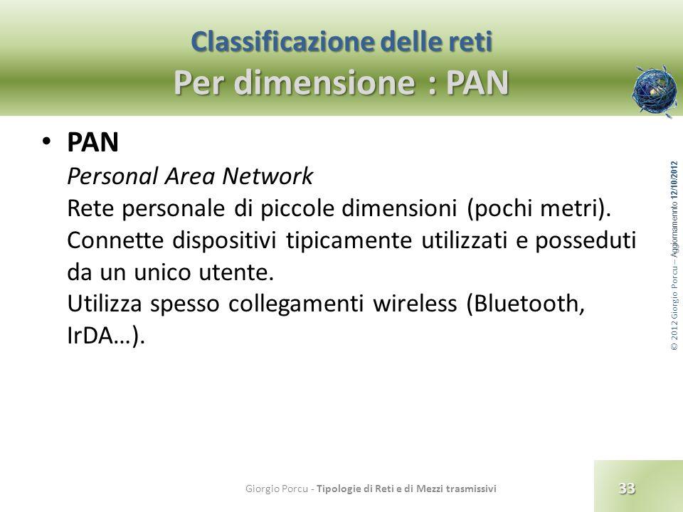 © 2012 Giorgio Porcu – Aggiornamennto 12/10/2012 Classificazione delle reti Per dimensione : PAN PAN Personal Area Network Rete personale di piccole d