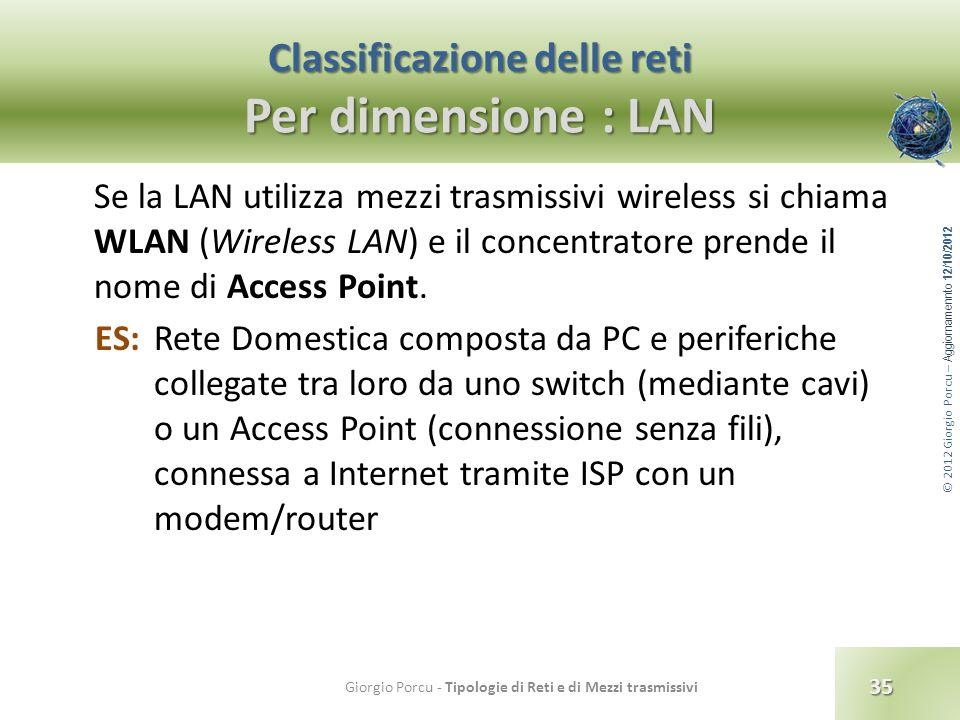 © 2012 Giorgio Porcu – Aggiornamennto 12/10/2012 Classificazione delle reti Per dimensione : LAN Se la LAN utilizza mezzi trasmissivi wireless si chia