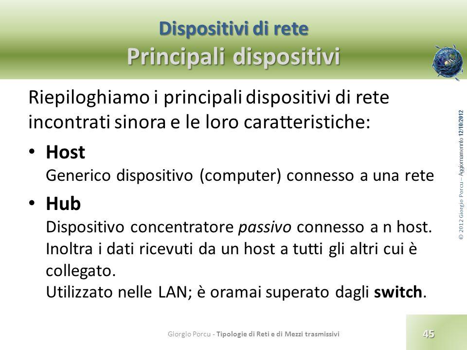 © 2012 Giorgio Porcu – Aggiornamennto 12/10/2012 Dispositivi di rete Principali dispositivi Riepiloghiamo i principali dispositivi di rete incontrati