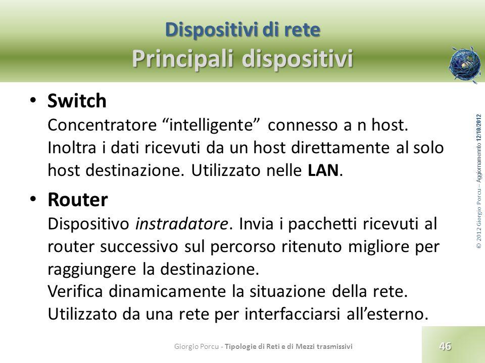 © 2012 Giorgio Porcu – Aggiornamennto 12/10/2012 Dispositivi di rete Principali dispositivi Switch Concentratore intelligente connesso a n host. Inolt