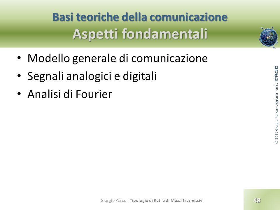 © 2012 Giorgio Porcu – Aggiornamennto 12/10/2012 Basi teoriche della comunicazione Aspetti fondamentali Modello generale di comunicazione Segnali anal
