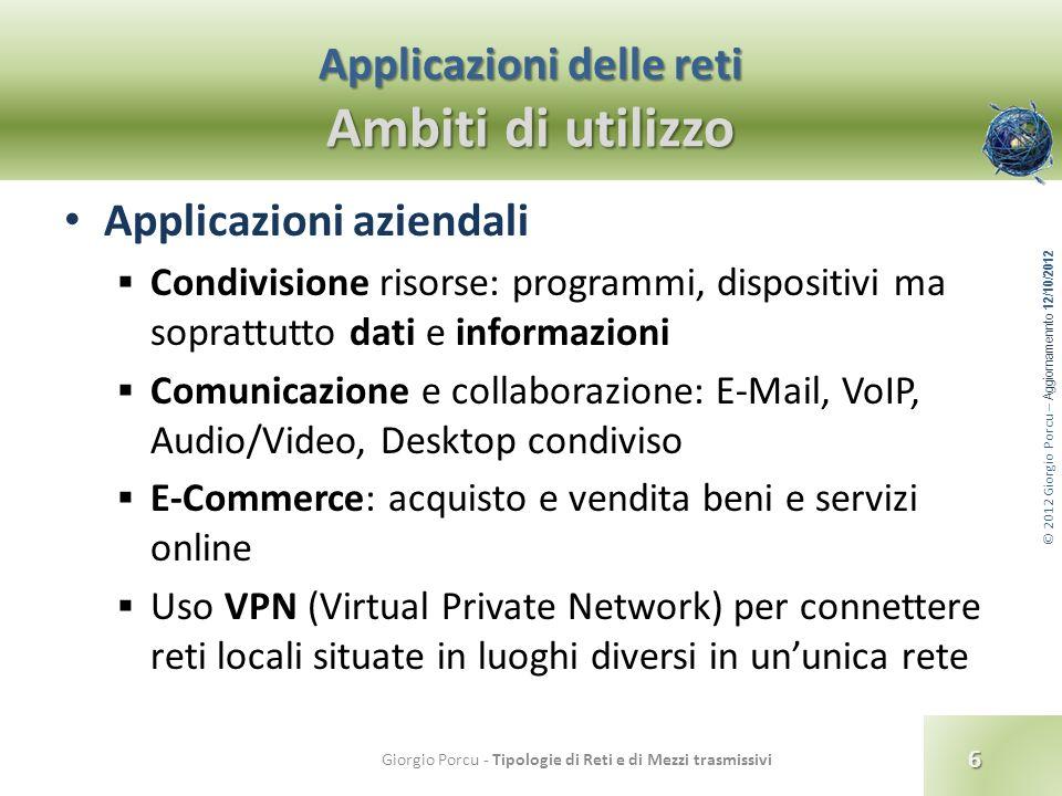 © 2012 Giorgio Porcu – Aggiornamennto 12/10/2012 Classificazione delle reti Per tecnologia di trasferimento Reti broadcast I dati inviati da un host sono ricevuti da tutti gli altri della rete, indistintamente.