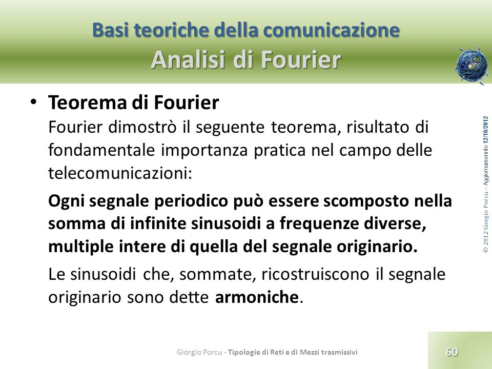 © 2012 Giorgio Porcu – Aggiornamennto 12/10/2012 Basi teoriche della comunicazione Analisi di Fourier Teorema di Fourier Fourier dimostrò il seguente
