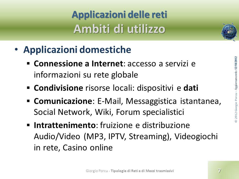 © 2012 Giorgio Porcu – Aggiornamennto 12/10/2012 Applicazioni delle reti Ambiti di utilizzo 7 Giorgio Porcu - Tipologie di Reti e di Mezzi trasmissivi