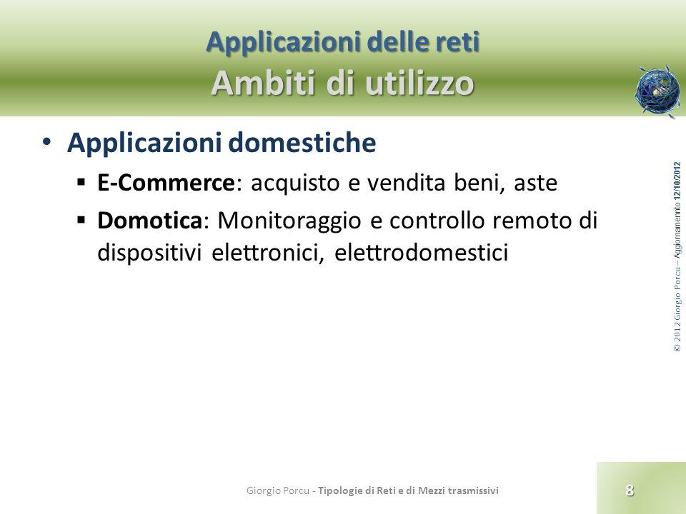 © 2012 Giorgio Porcu – Aggiornamennto 12/10/2012 Applicazioni delle reti Ambiti di utilizzo 8 Giorgio Porcu - Tipologie di Reti e di Mezzi trasmissivi