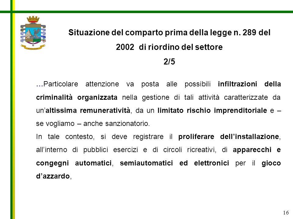 16 Situazione del comparto prima della legge n. 289 del 2002 di riordino del settore 2/5 …Particolare attenzione va posta alle possibili infiltrazioni