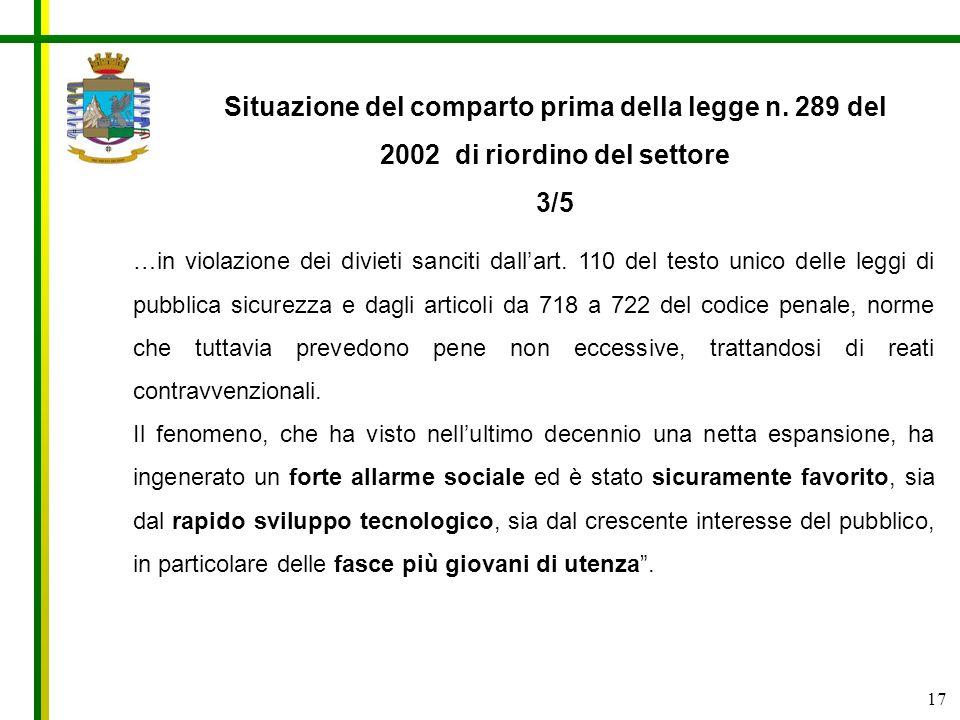 17 Situazione del comparto prima della legge n. 289 del 2002 di riordino del settore 3/5 …in violazione dei divieti sanciti dallart. 110 del testo uni