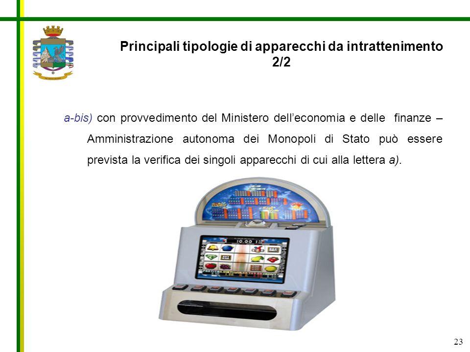 23 a-bis) con provvedimento del Ministero delleconomia e delle finanze – Amministrazione autonoma dei Monopoli di Stato può essere prevista la verific