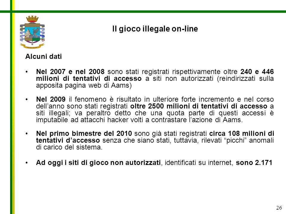 26 Il gioco illegale on-line Alcuni dati Nel 2007 e nel 2008 sono stati registrati rispettivamente oltre 240 e 446 milioni di tentativi di accesso a s