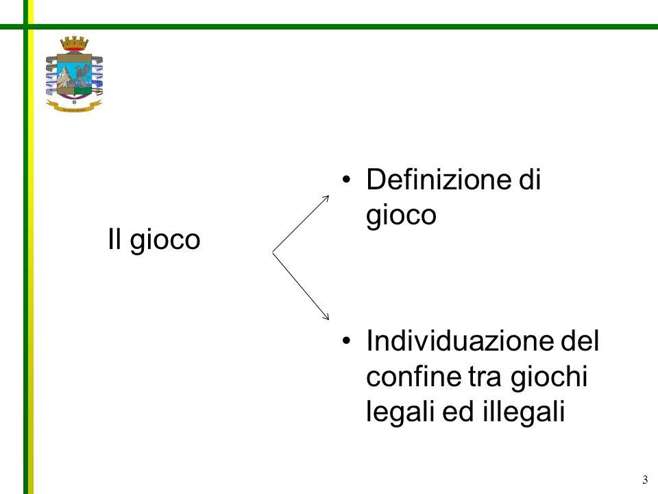 3 Definizione di gioco Individuazione del confine tra giochi legali ed illegali Il gioco