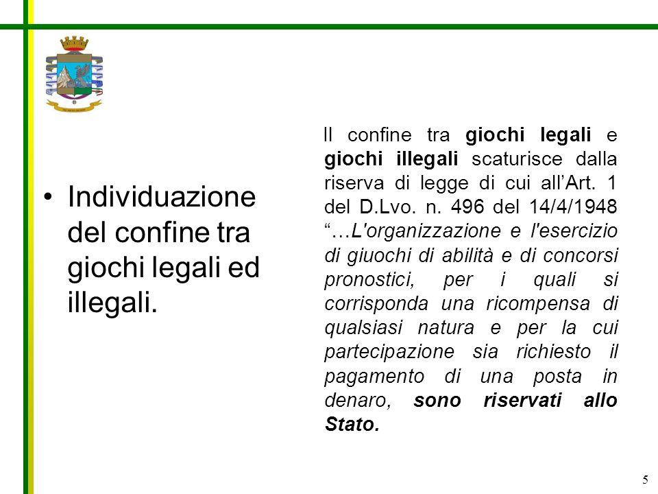 5 Il confine tra giochi legali e giochi illegali scaturisce dalla riserva di legge di cui allArt. 1 del D.Lvo. n. 496 del 14/4/1948 …L'organizzazione