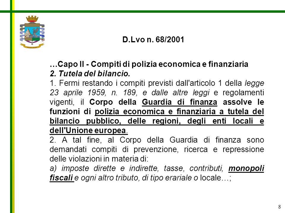 8 …Capo II - Compiti di polizia economica e finanziaria 2. Tutela del bilancio. 1. Fermi restando i compiti previsti dall'articolo 1 della legge 23 ap