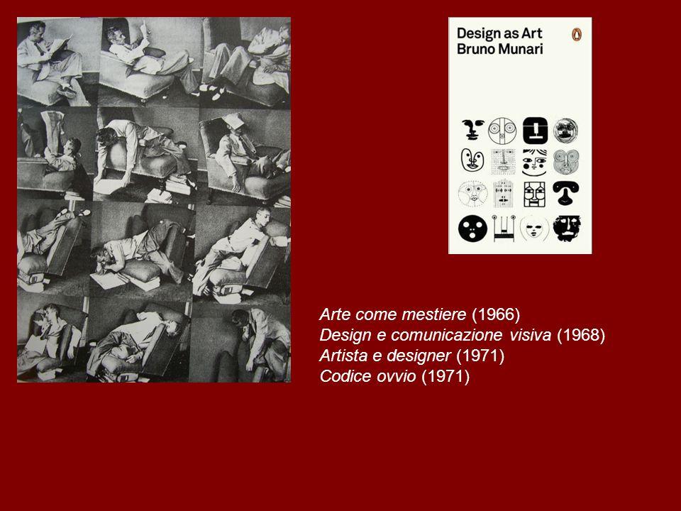 Arte come mestiere (1966) Design e comunicazione visiva (1968) Artista e designer (1971) Codice ovvio (1971)