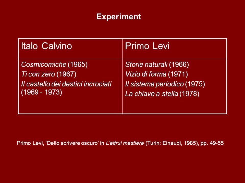 Italo CalvinoPrimo Levi Cosmicomiche (1965) Ti con zero (1967) Il castello dei destini incrociati (1969 - 1973) Storie naturali (1966) Vizio di forma (1971) Il sistema periodico (1975) La chiave a stella (1978) Primo Levi, Dello scrivere oscuro in Laltrui mestiere (Turin: Einaudi, 1985), pp.