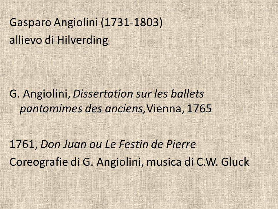 Gasparo Angiolini (1731-1803) allievo di Hilverding G. Angiolini, Dissertation sur les ballets pantomimes des anciens,Vienna, 1765 1761, Don Juan ou L