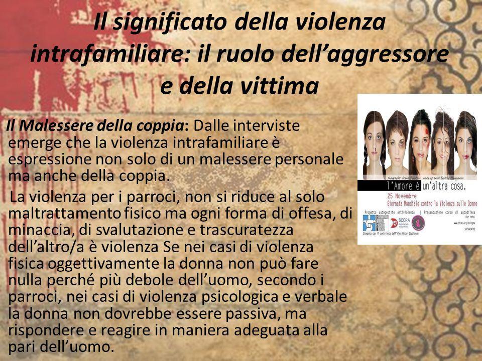 Il significato della violenza intrafamiliare: il ruolo dellaggressore e della vittima Il Malessere della coppia: Dalle interviste emerge che la violen