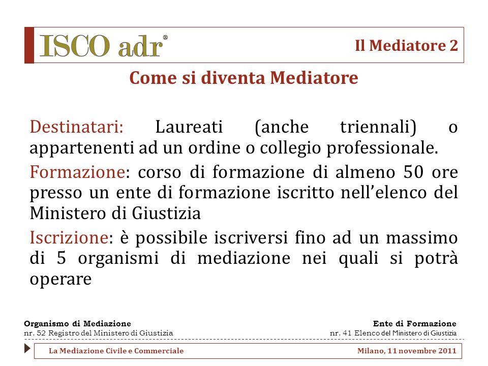 Il Mediatore 2 Come si diventa Mediatore Destinatari: Laureati (anche triennali) o appartenenti ad un ordine o collegio professionale.