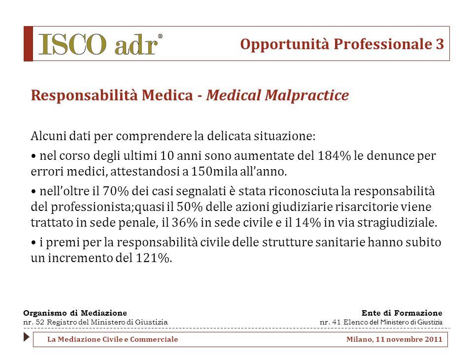Opportunità Professionale 3 Responsabilità Medica - Medical Malpractice Alcuni dati per comprendere la delicata situazione: nel corso degli ultimi 10