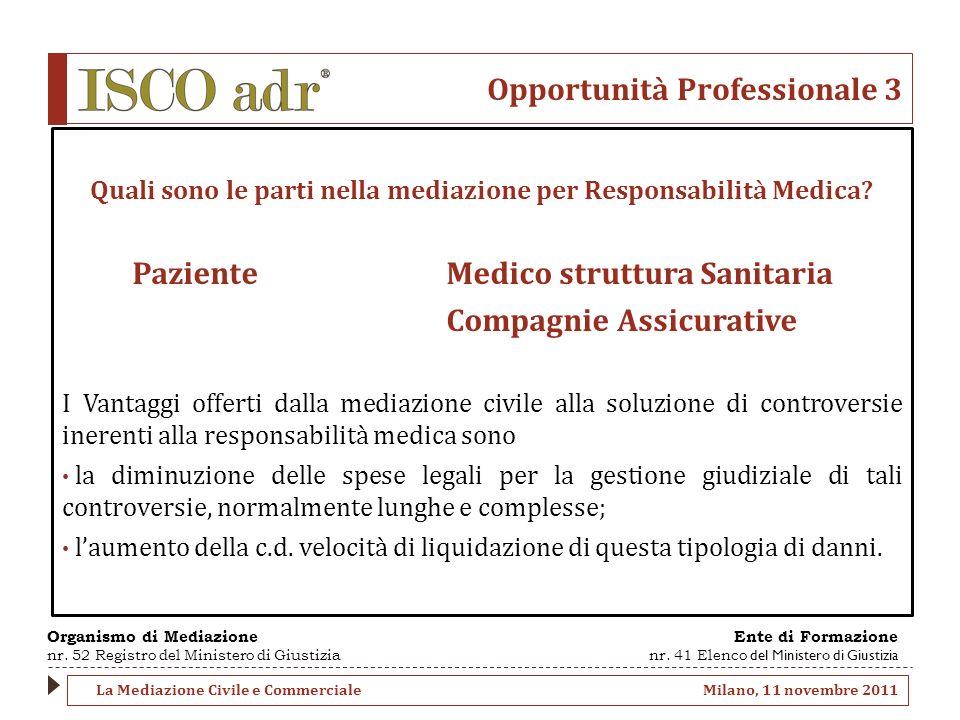 Opportunità Professionale 3 Quali sono le parti nella mediazione per Responsabilità Medica? Paziente Medico struttura Sanitaria Compagnie Assicurative