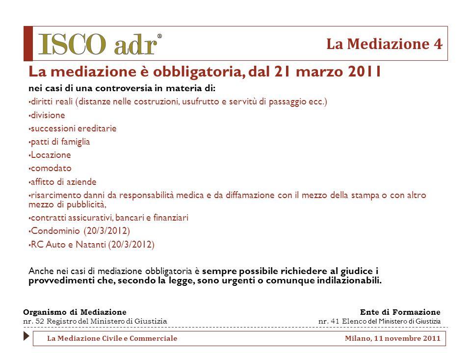 La Mediazione 4 La mediazione è obbligatoria, dal 21 marzo 2011 nei casi di una controversia in materia di: diritti reali (distanze nelle costruzioni,