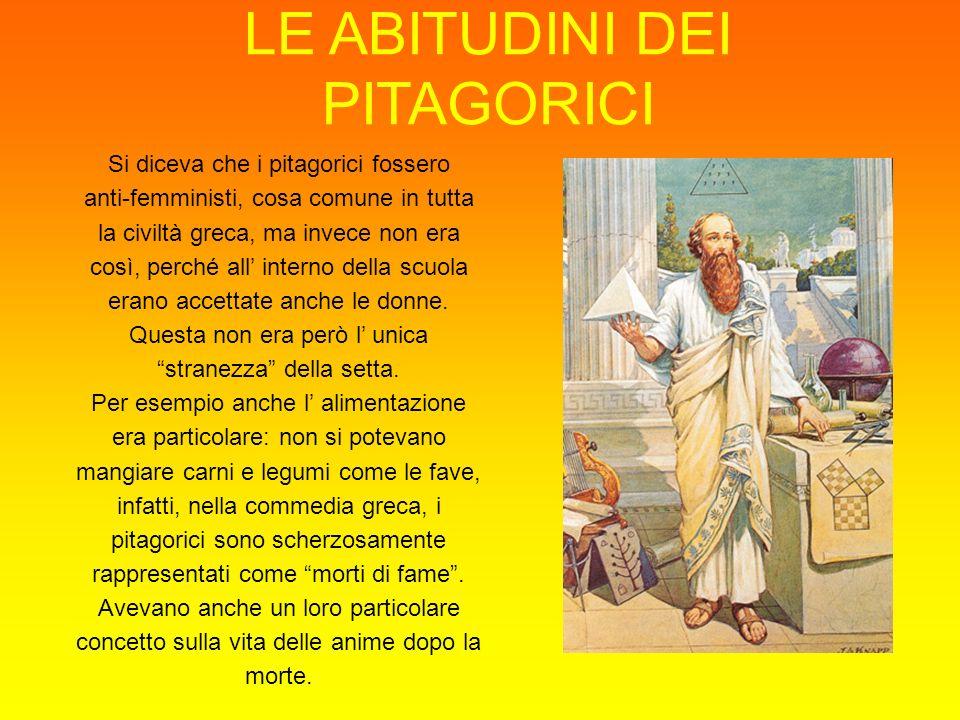 LE ABITUDINI DEI PITAGORICI Si diceva che i pitagorici fossero anti-femministi, cosa comune in tutta la civiltà greca, ma invece non era così, perché