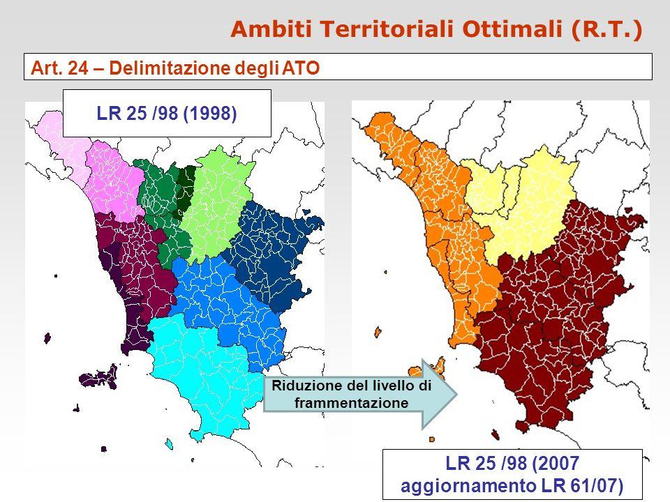 Ambiti Territoriali Ottimali (R.T.) Art. 24 – Delimitazione degli ATO LR 25 /98 (1998) LR 25 /98 (2007 aggiornamento LR 61/07) Riduzione del livello d