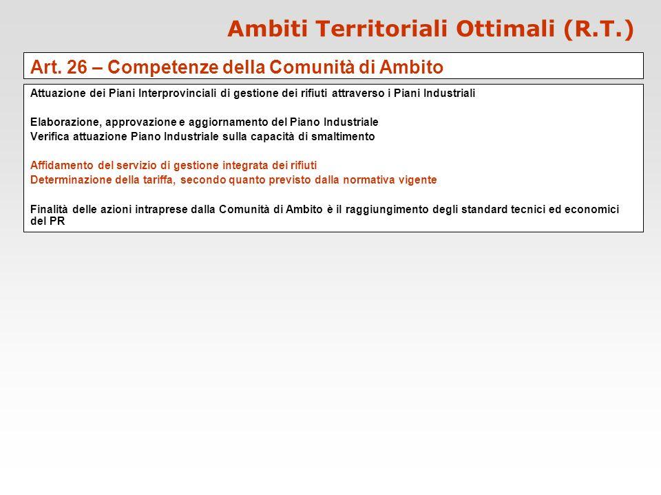 Ambiti Territoriali Ottimali (R.T.) Art. 26 – Competenze della Comunità di Ambito Attuazione dei Piani Interprovinciali di gestione dei rifiuti attrav