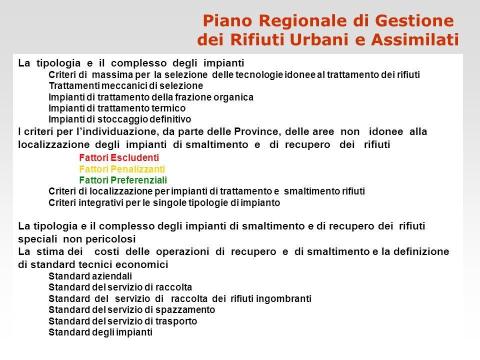 Piano Regionale di Gestione dei Rifiuti Urbani e Assimilati La tipologia e il complesso degli impianti Criteri di massima per la selezione delle tecno