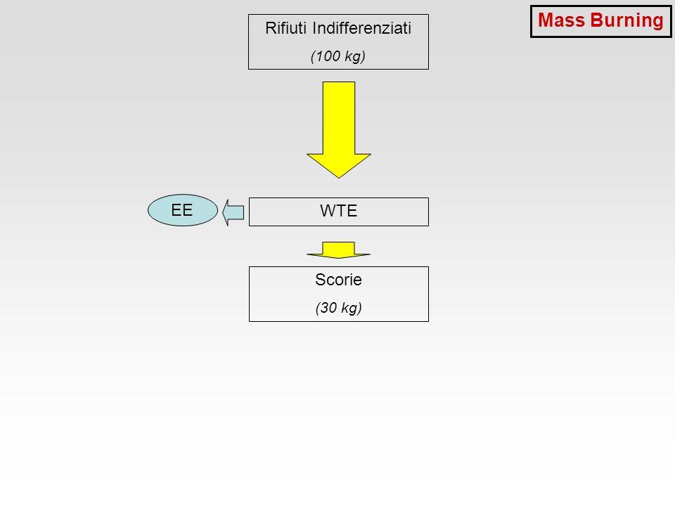Rifiuti Indifferenziati (100 kg) WTE Scorie (30 kg) EE Mass Burning