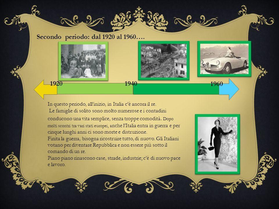 ecc.. 19401920 Secondo periodo: dal 1920 al 1960…. 1960 In questo periodo, allinizio, in Italia cè ancora il re. Le famiglie di solito sono molto nume