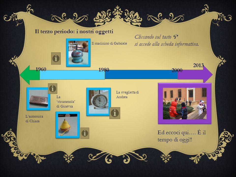 1960 1980 2000 2013 Il terzo periodo: i nostri oggetti Il macinino di Gabriele Larmonica di Chiara La strummola di Ginevra La sveglietta di Andrea Ed